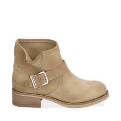 Biker boots taupe in camoscio, Scarpe, 157782014CMTAUP038, 001a