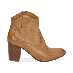 Bottines camel en cuir, talon 7,50 cm , Chaussures, 157725926PECUOI036, 001 preview
