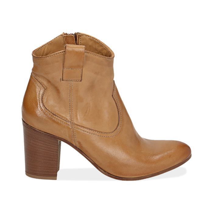 Ankle boots cuoio in pelle, tacco 7,50 cm, Scarpe, 157725926PECUOI035