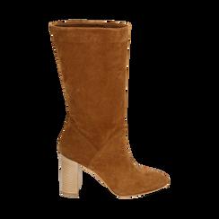 Bottes en daim marron, talon de 9 cm, Chaussures, 158900891CMRUGG036, 001 preview