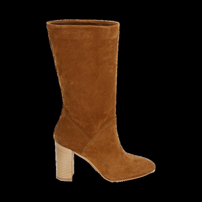 Bottes en daim marron, talon de 9 cm, Chaussures, 158900891CMRUGG036