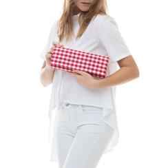 Clutch bianco/rossa in tessuto stampa Vichy, Borse, 133308825TSBIROUNI, 002a