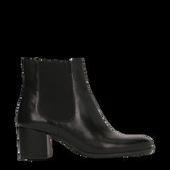 Chelsea Boots neri in vera pelle, tacco quadrato medio 5,5 cm, Primadonna, 127722102PENERO035, 001a