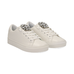 Sneakers bianche in eco-pelle con gemme scintillanti, Scarpe, 132619101EPBIAN036, 002 preview