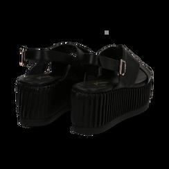 Sandali platform neri in eco-pelle, zeppa 7 cm , Primadonna, 132147651EPNERO035, 004 preview