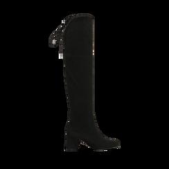 Stivali overknee neri in microfibra, tacco 9,50 cm , Primadonna, 164982302MFNERO037, 001 preview
