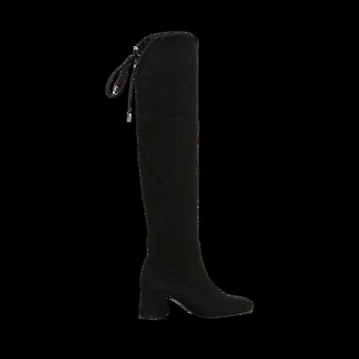 Stivali overknee neri in microfibra, tacco 9,50 cm , Primadonna, 164982302MFNERO037