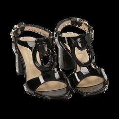 Sandalias en charol color negro, tacón 6,50 cm , OPORTUNIDADES, 152166341VENERO036, 002 preview