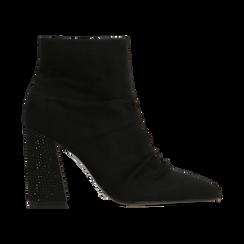 Tronchetti neri drappeggiati, tacco 9 cm, Scarpe, 120381116MFNERO, 001 preview