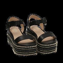 Sandali neri in eco-pelle, zeppa 7 cm , Primadonna, 154932211EPNERO035, 002a