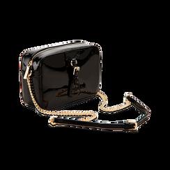 Camera bag nera con tracolla, ecopelle vernice, Primadonna, 121818008VENEROUNI, 003 preview