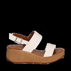 Sandali platform bianchi in eco-pelle, zeppa 5 cm , Saldi Estivi, 13C700258EPBIAN035, 001a