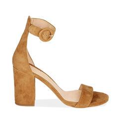 Sandali ruggine in camoscio, tacco 8,5 cm, Primadonna, 15D600501CMRUGG037, 001a