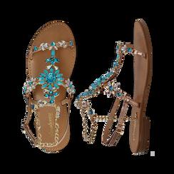 Sandali gioiello azzurro flat con tomaia rosa in laminato, Primadonna, 134921933LMROSA036, 003 preview