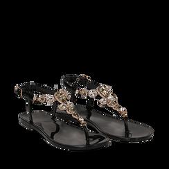 Sandali infradito neri in pvc con strass, Primadonna, 130900001PVNERO035, 002a