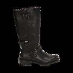 Biker boots con fibbie neri in eco-pelle, tacco 3,5 cm , Primadonna, 14A776168EPNERO036, 001 preview