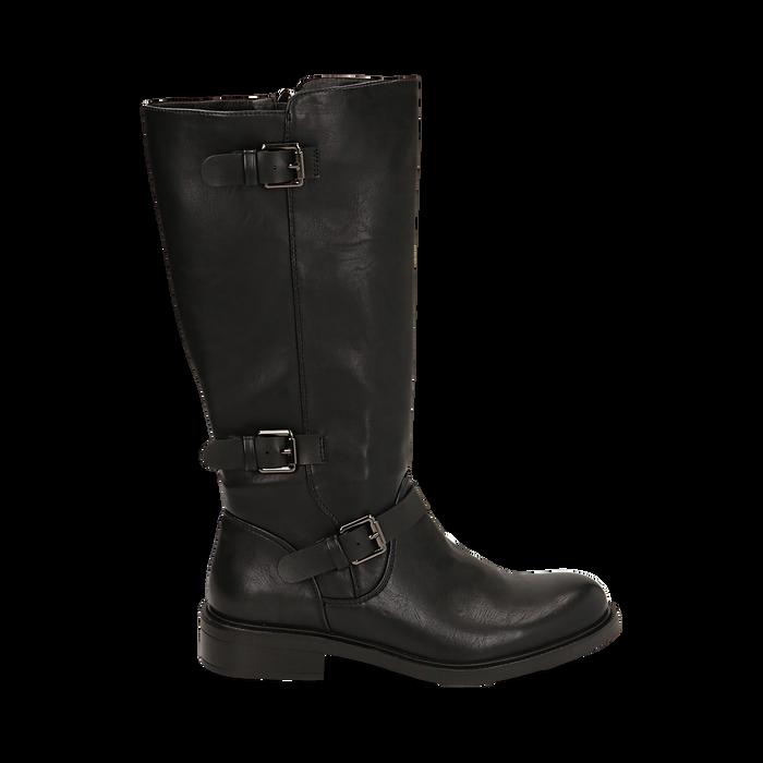 Biker boots con fibbie neri in eco-pelle, tacco 3,5 cm , Primadonna, 14A776168EPNERO036