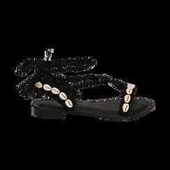 Sandali lace-up neri in microfibra con conchiglie, Zapatos, 154948229MFNERO036, 001 preview