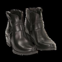 Camperos neri in pelle, tacco 5 cm , Scarpe, 141612598PENERO035, 002a