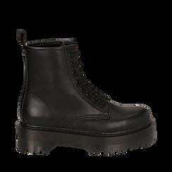 Anfibi platform neri in eco-pelle, suola 4,50 cm , Stivaletti, 142800001EPNERO035, 001a
