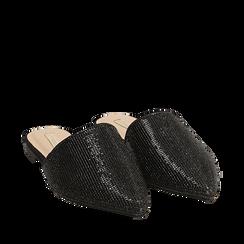 Slippers nere in microfibra con pietre, Primadonna, 154921861MPNERO036, 002a