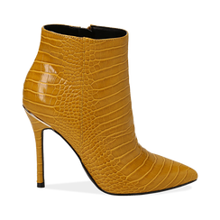 Ankle boots gialli stampa cocco, tacco 11 cm ,