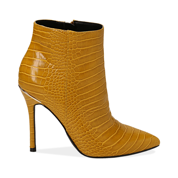 Ankle boots gialli stampa cocco, tacco 11 cm , Stivaletti, 142168616CCGIAL036