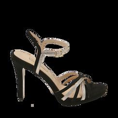 Sandali multilistino neri in microfibra, tacco 10,50 cm, Scarpe, 152174020MFNERO035, 001a