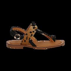 Sandali infradito neri in eco-pelle con dettaglio leopard, Primadonna, 135201202EPNERO036, 001 preview