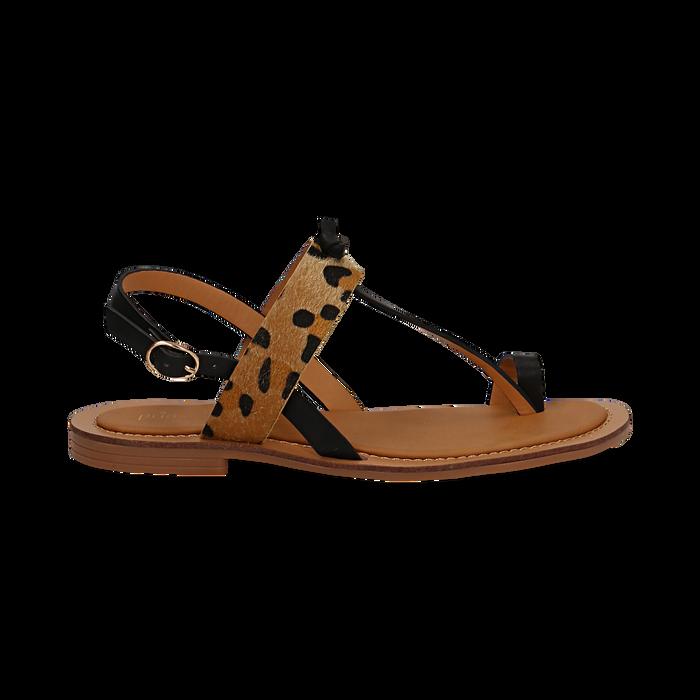 Sandali infradito neri in eco-pelle con dettaglio leopard, Primadonna, 135201202EPNERO036