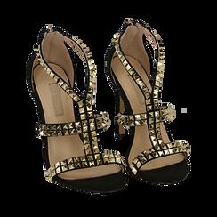 Sandali borchiati neri in microfibra, tacco 11,50 cm, OUTLET, 152100920MFNERO036, 002a