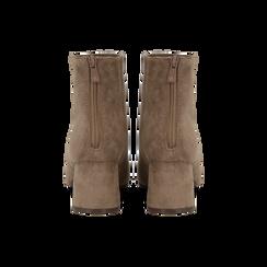 Tronchetti taupe scamosciati con tacco scultura 6 cm, Scarpe, 122707126MFTAUP, 003 preview