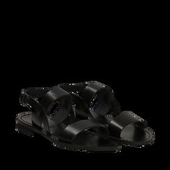 Sandali flat neri in pelle, Primadonna, 138102005VANERO035, 002a