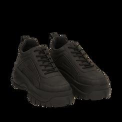 Sneakers platform nere in micro-nabuk, zeppa 5,50 cm , Scarpe, 14D814401MNNERO035, 002a