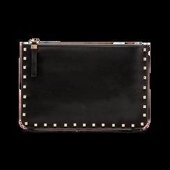 Clutch nera in ecopelle con profilo mini-borchie, Saldi, 123308330EPNEROUNI, 001 preview
