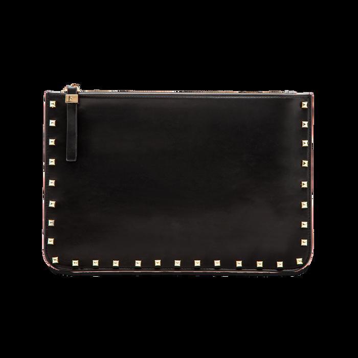 Clutch nera in ecopelle con profilo mini-borchie, Saldi, 123308330EPNEROUNI
