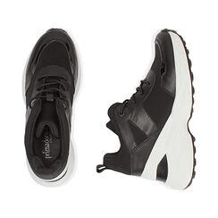 Sneakers nere in tessuto tecnico, zeppa 9 cm , Primadonna, 177590504TSNERO035, 003 preview