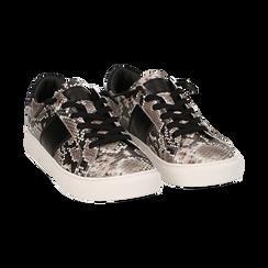 Sneakers bianco/nere stampa pitone, Primadonna, 162619071PTBINE035, 002 preview