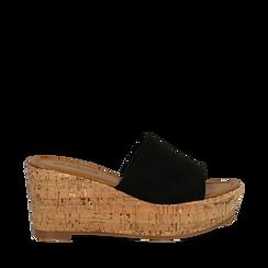 Zeppe platform nere in microfibra, zeppa in sughero 8 cm, Primadonna, 134955111MFNERO035, 001a