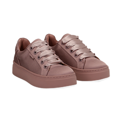 Sneakers nude in tessuto, suola 4 cm  ,