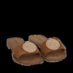 Ciabatte cuoio in camoscio , Zapatos, 15K808250CMCUOI036, 002a