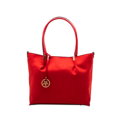 Maxi-bag a spalla rossa in microfibra scamosciata, Saldi, 125702033MFROSSUNI, 001