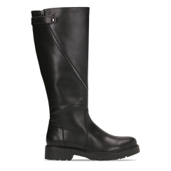 Stivali neri flat con suola carrarmato, tacco basso, Scarpe, 120618155EPNERO, 001 preview