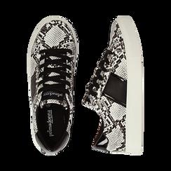 Sneakers bianco/nere in eco-pelle, effetto snake skin, Scarpe, 142619071PTBINE035, 003 preview