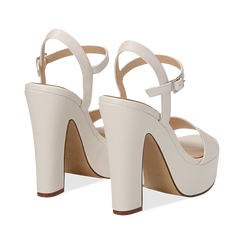 Sandali con plateau bianchi in eco-pelle, tacco 13 cm , Sandali con tacco, 138404164EPBIAN035, 004 preview