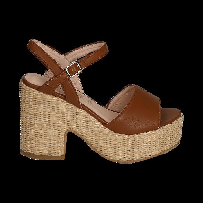 Sandali cuoio in eco-pelle con plateau, tacco 11 cm , Saldi, 133401986EPCUOI036