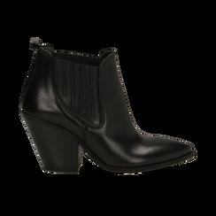 Stivaletti Camperos neri in vera pelle con banda elastica, tacco 8,5 cm, Primadonna, 128900400VINERO036, 001 preview