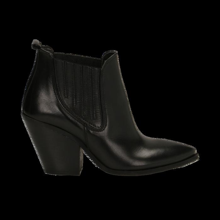 Stivaletti Camperos neri in vera pelle con banda elastica, tacco 8,5 cm, Primadonna, 128900400VINERO036