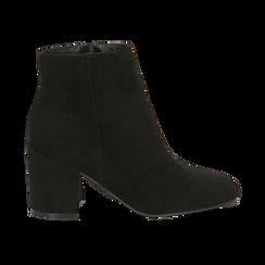 Ankle boots neri in microfibra, tacco 7,5 cm , Stivaletti, 142762715MFNERO035, 001 preview