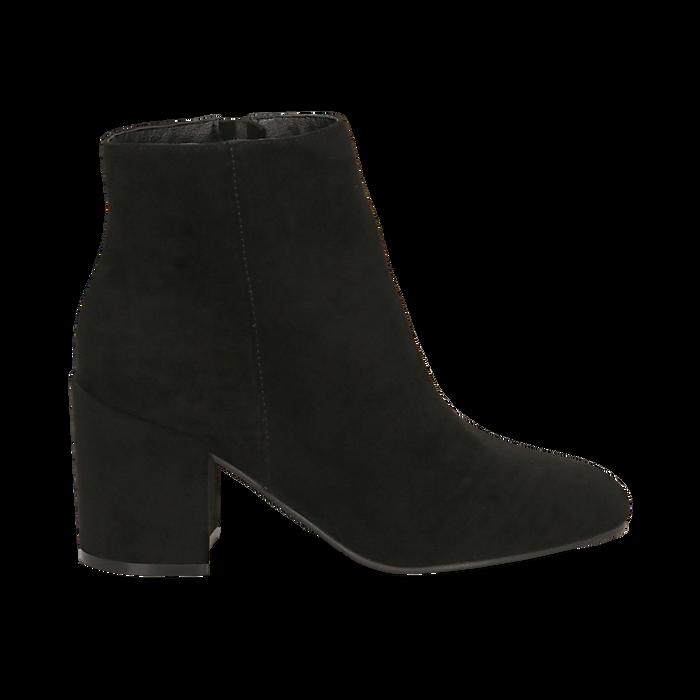 Ankle boots neri in microfibra, tacco 7,5 cm , Stivaletti, 142762715MFNERO035